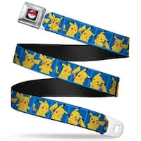 Pok Ball Full Color Black Pikachu 5 Pose Blocks Blues Webbing Seatbelt Seatbelt Belt