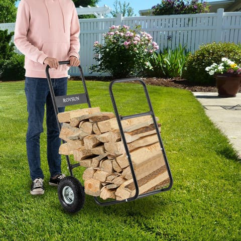 Firewood Cart Wood Hauler Fireplace Log Carrier Mover w/Rolling Wheel Dolly Storage Holder
