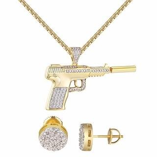 "Gun With Silencer Pendant 1.2"" Mini Charm 24"" Chain 14k Gold Tone Earrings 9mm"