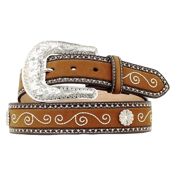 Nocona Western Belt Womens Flower Concho Aged Bark Black