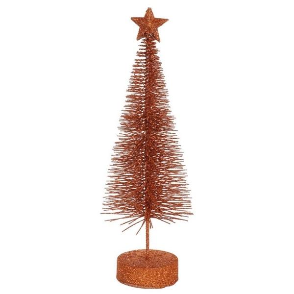 "Pack of 2 Burnt Orange Glitter Sisal Artificial Table Top Christmas Trees 12"""