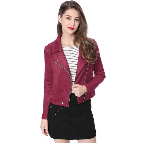 Allegra K Women Short Soft Zip Up Faux Suede Biker Moto Jacket