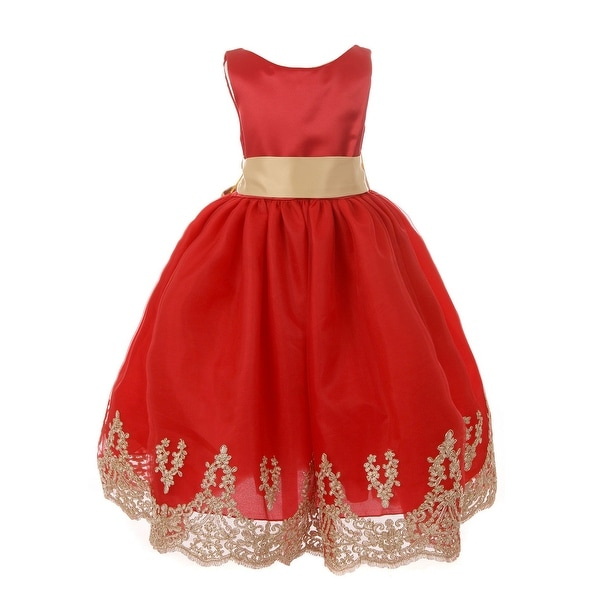 7eeff631356 Shop Girls Red Gold Embroidered Hem Stylish Sleeveless Christmas Dress - Free  Shipping Today - Overstock - 25542098