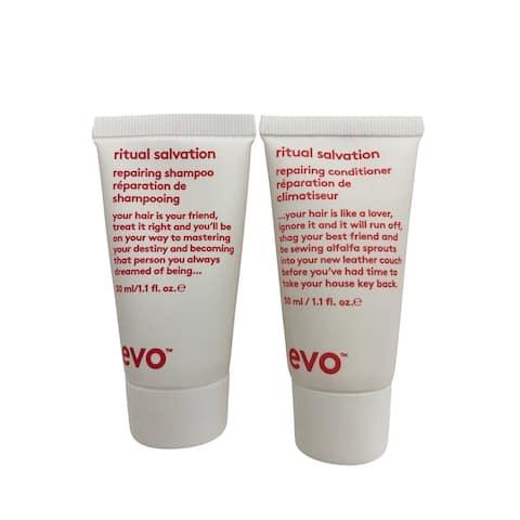 evo Ritual Salvation Repairing Shampoo & Conditioner Set 1.1 OZ Each - 2.1 - 3 Oz.