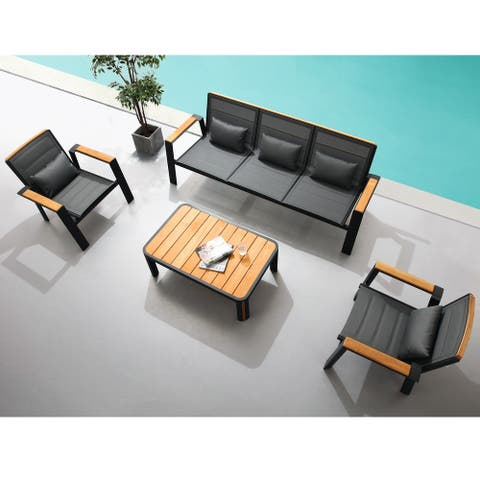 HIGOLD - 2031 Geneva 4 Pieces Patio Conversation Set, 5 Seaters Aluminum Sofa, Teak, Textilene, Matte Charcoal Powder Coating