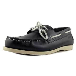 Sebago Wharf Men  Moc Toe Leather Blue Boat Shoe