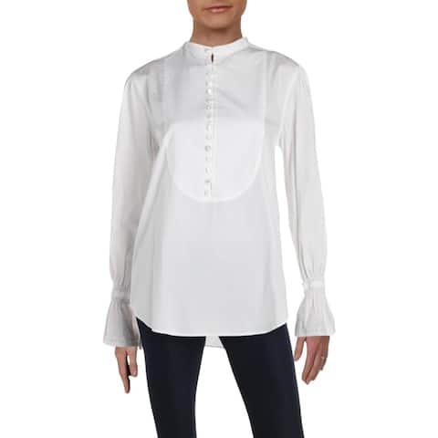 Polo Ralph Lauren Womens Blouse Smocked Long Sleeves - S