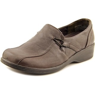 Easy Street Lara Slip On Women W Bicycle Toe Leather Brown Loafer