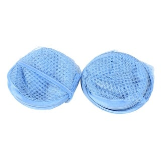 Unique Bargains Foldable Lingerie Delicates Bra Mesh Wash Bag Home Household Net Washing Laundry Basket Blue 2 Pcs