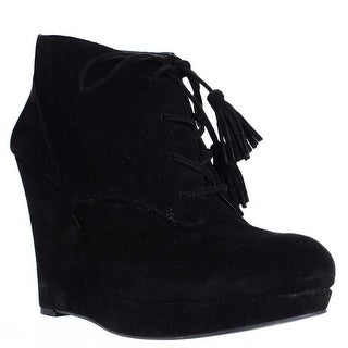Jessica Simpson Cyntia Wedge Tassel Tie Ankle Booties - Black