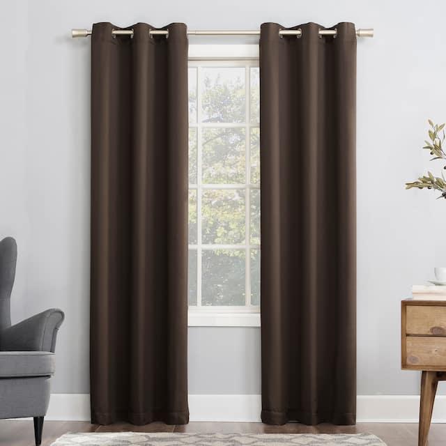 Sun Zero Hayden Energy Saving Blackout Grommet Curtain Panel, Single Panel - 40x54 - Cocoa