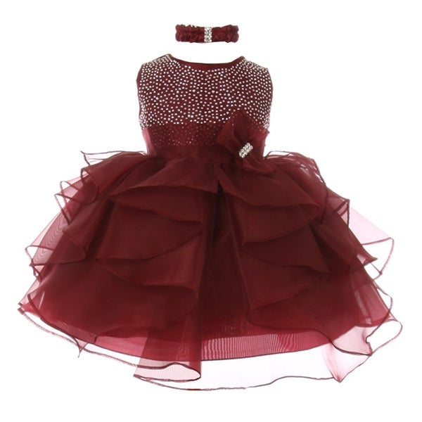 Baby Girls Burgundy Studded Cascade Ruffle Headband Flower Girl Dress