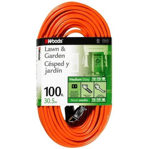 Woods 0724 Outdoor Extension Cord, 100', Orange