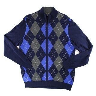 Club Room NEW Blue Mens Size Large L Full Zip Mock-Neck Argyle Sweater