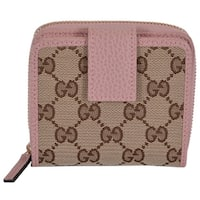 "Gucci Women's 346056 Beige Pink GG Guccissima French Zip Around Wallet - 4"" x 4"""