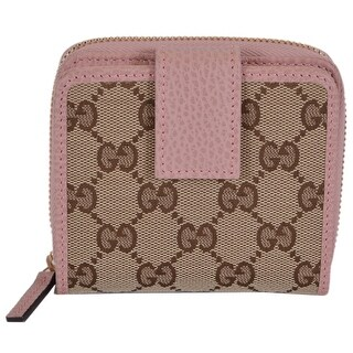 """Gucci Women's 346056 Beige Pink GG Guccissima French Zip Around Wallet - 4"""" x 4"""""""