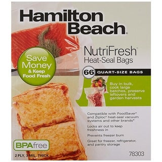 Hamilton Beach 78303 Vacuum Sealer Quart-Size Bags 66-Pack For Heat-Seal Systems - Clear