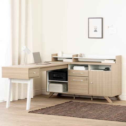 South Shore Helsy L-Shaped Desk with Power Bar
