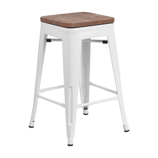 Shop Offex 24 High Backless White Metal Counter Height Stool With