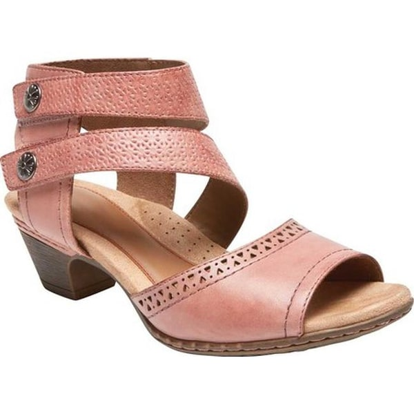 Rockport Women's Cobb Hill Abbott 2 Piece Cuff Sandal Pink Leather