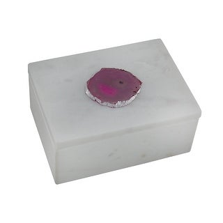 White Marble Trinket Box w/Pink Agate Stone Accent Lid