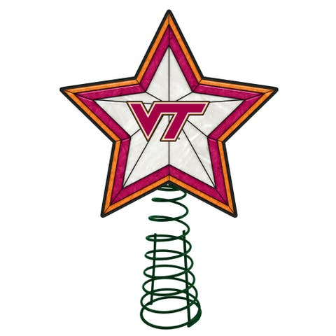 """10"""" Lighted Red and White Star NCAA Virginia Tech Hokies Christmas Tree Topper - N/A"""