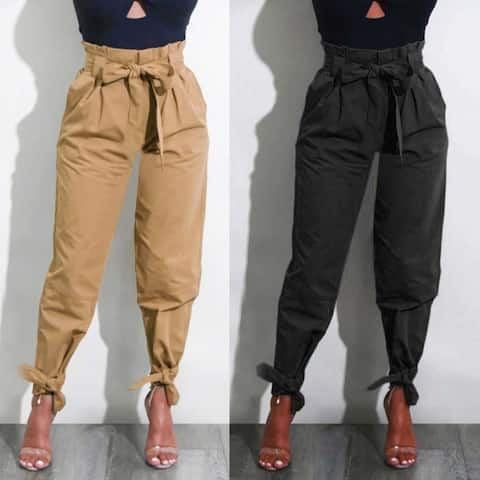STYLEDOME Womens Belted High Waist Trousers Casual Pants