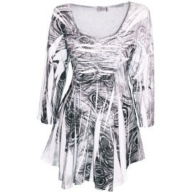 Funfash Plus Size White Black Rhinestones New Women's Blouse Shirt Top
