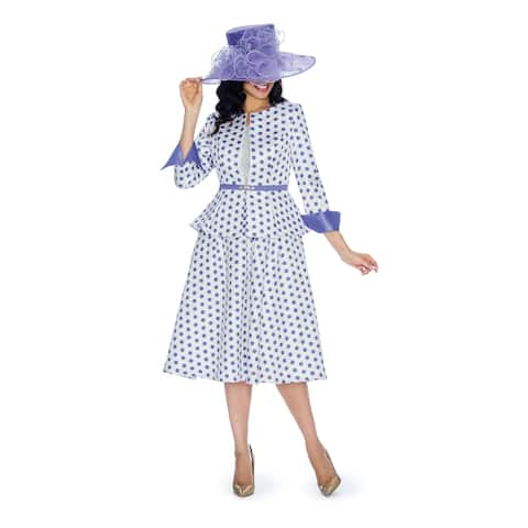 Giovanna Collection Women's A-line Polka Dot 3-piece Skirt Suit