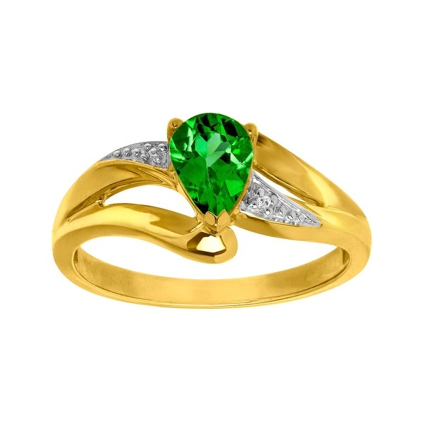 7/8 ct Created Emerald Ring with Diamond in 10K Gold - Green