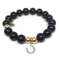 Julieta Jewelry Horseshoe Charm Black Onyx Bracelet