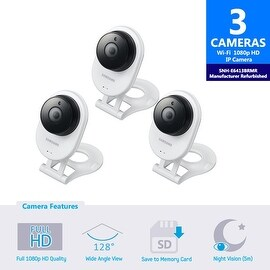3 Pack SNH-E6413BMR - Samsung HD WiFi IP Camera with 16GB microSD Card (Refurbished)