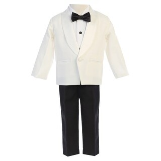 Lito Boys Ivory Black Jacket Pants Shirt Bowtie 4 Pc Tuxedo