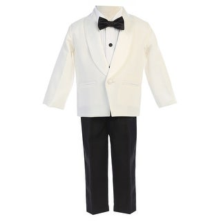 Lito Little Boys Ivory Black Jacket Pants Shirt Bowtie 4 Pc Tuxedo