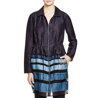 Elie Tahari Womens Nicolette Shirt Jacket Linen Blend Illusion Striped