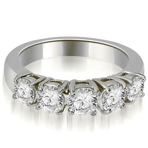 0.70 cttw. 14K White Gold Prong Set Round Cut Diamond Wedding Band