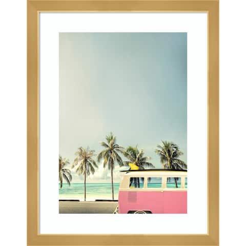 Surf Bus Pink (Beach) by Design Fabrikken Framed Wall Art Print