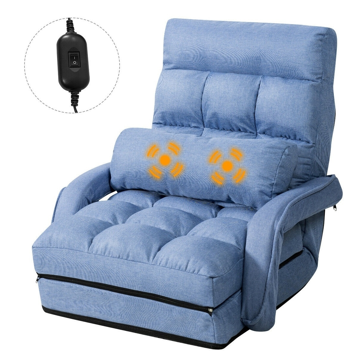 Gymax Blue Folding Lazy Sofa Floor Chair Sofa Lounger Bed With Armrests And Pillow