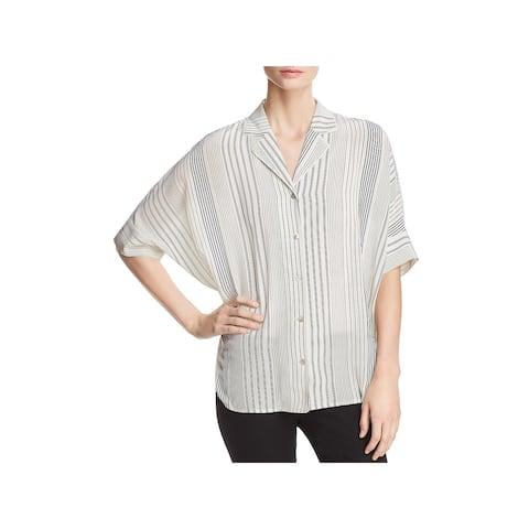 Eileen Fisher Womens Button-Down Top Silk Striped - M