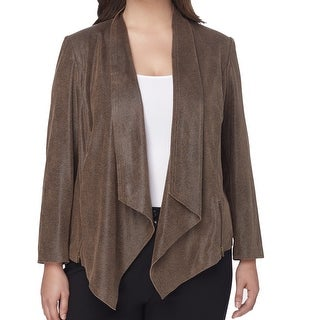 Tahari by ASL NEW Brown Women's Size 14W Plus Drape Lapel Jacket