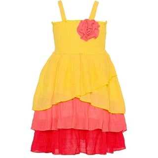 Lele Little Girls Yellow Pink Smocked Top Rosette Accent Ruffle Dress