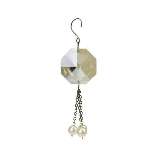"6.75"" Glamour Time Gold Vintage Crystal and Pearl Dangling Tassel Christmas Ornament"
