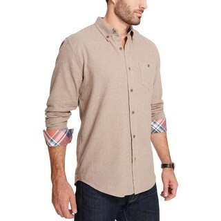 Weatherproof Vintage Mens Button-Down Shirt Brushed Two-Tone