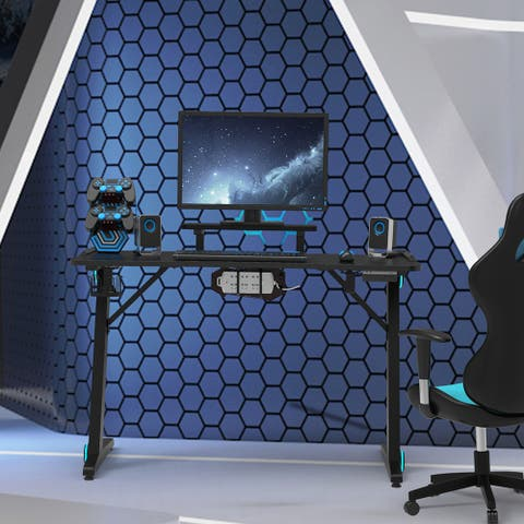 TiramisuBest Computer Gaming Desk in Z-Shaped with RGB Lights