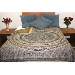 Reversible Duvet Cover Vegetable Dye Block Print Mandala Design Full Queen Pillow Sham