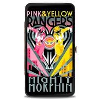 Pink & Yellow Rangers Art Deco Action Pose Heart Skyline Rays Black Grays Hinge Wallet - One Size Fits most