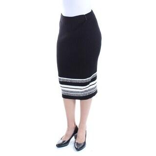 BAR III $60 Womens New 1185 Black Below The Knee Pencil Casual Skirt 2XS B+B