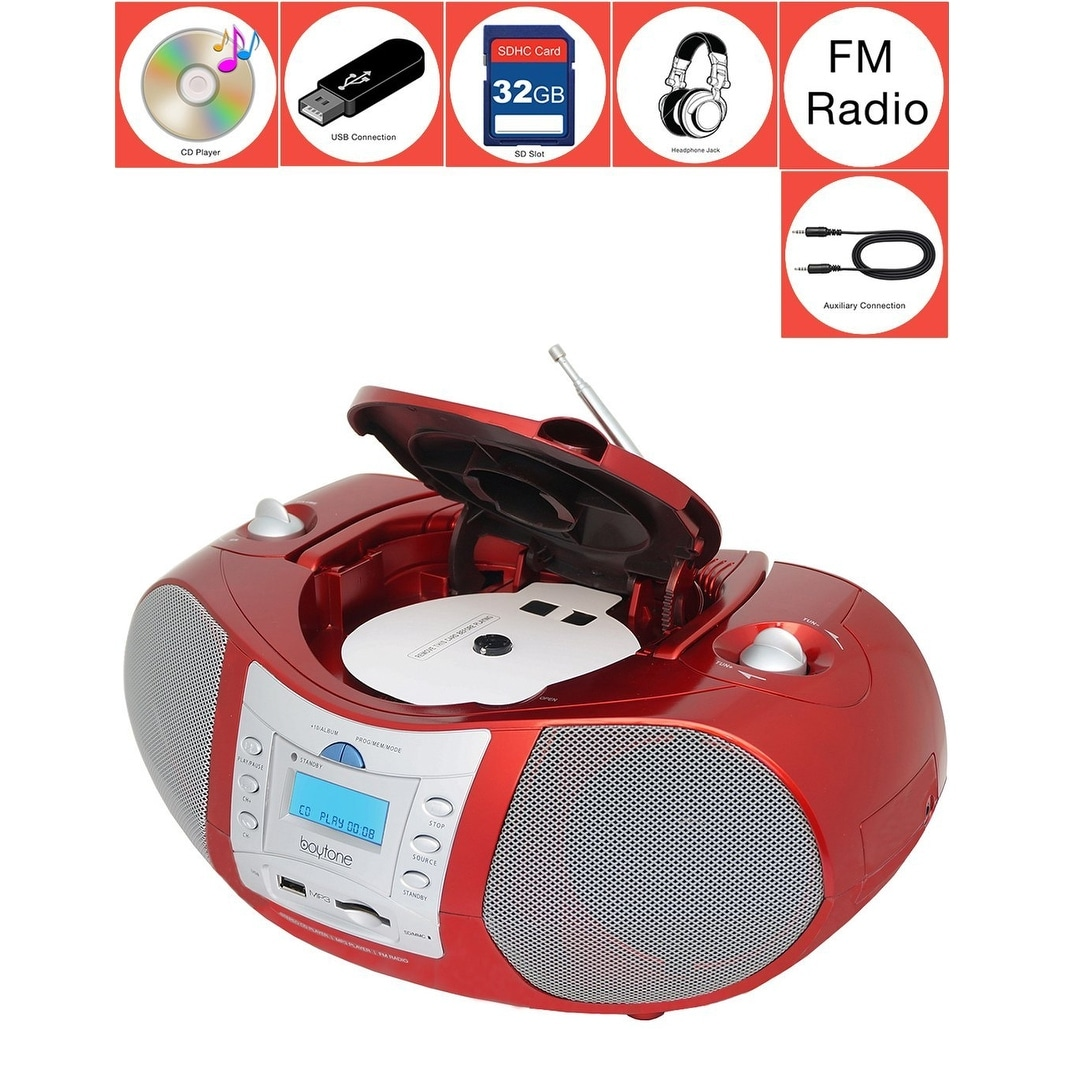 Boytone BT-6R CD Boombox Red Metallic color Edition Portable Music System with CD Player & USB/SD/MMC Slot, Digital FM Radio wit - Thumbnail 0
