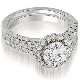 1.19 cttw. 14K White Gold Antique Halo Round Cut Diamond Bridal Set