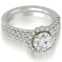 1.44 cttw. 14K White Gold Antique Halo Round Cut Diamond Bridal Set